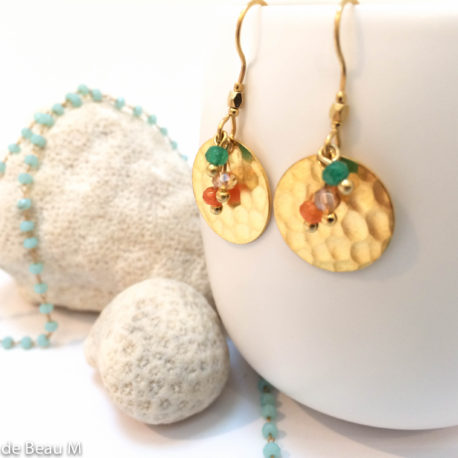 Boucles d'oreilles Boca, doré, orange:vert 2