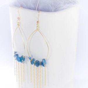 Boucles d'oreilles Savage, Bleu océan, doré