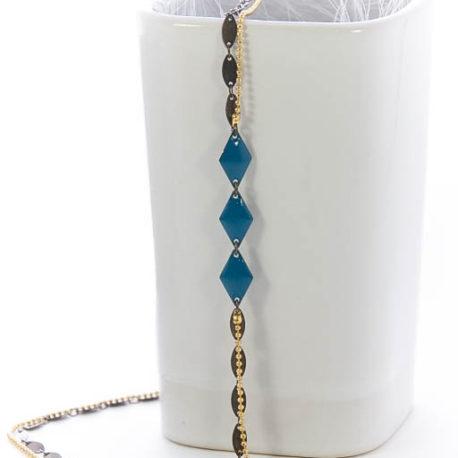 Headband Solanja, Bleu, doré et bronze