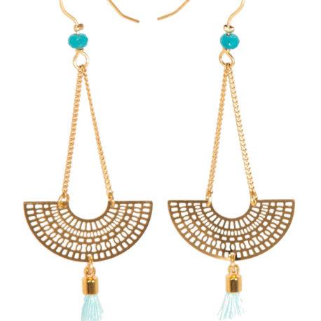 Boucles d'oreilles Baloa, doré, Bleu ciel