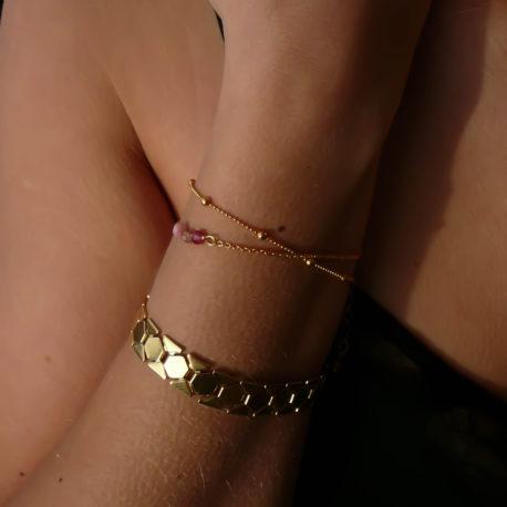 Bracelet Maï et Ciela, doré, rose