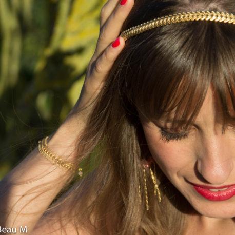 Headband Eva, bracelet Yaka et boucles d'oreilles Dolce, doré, rose GBM