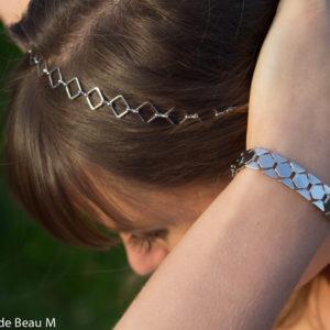 Headband Macco et bracelet Maï, argenté GBM