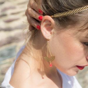 Headband Yaka et boucles d'oreilles Baloa, doré, rose corail GBM