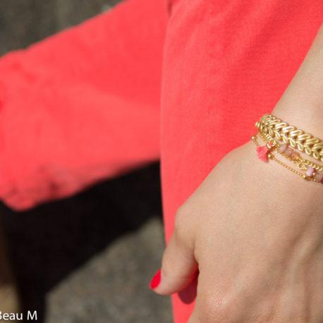 Bracelet Eva, Pimka et Ciela, doré, corail et rose GBM2