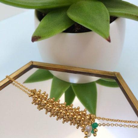 Bracelet Grappea, doré, vert 3-2
